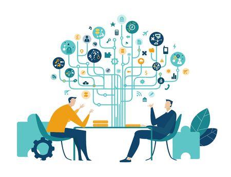 Zwei Geschäftsleute sprechen im Büro, verhandeln den Vertrag oder das Geschäft. Geschäftsbaum des Erfolgs aus Kommunikationssymbolen im Hintergrund