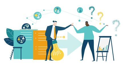 Group of young professional people with questions marks, doubting, thinking, looking for the right solution concept. Collection of business people in action. Illustration