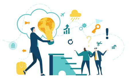 Businessman holding light bulb with map   as symbol of international business, growth idea, and working together concept. Collection of business people in action.