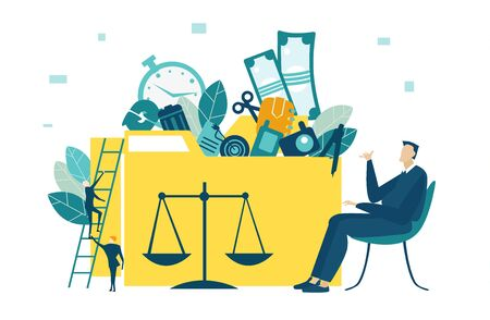 Businessman sitting in front of the folder. Database, support and control idea.  Improvement and working together concept. Collection of business people in action. Illustration