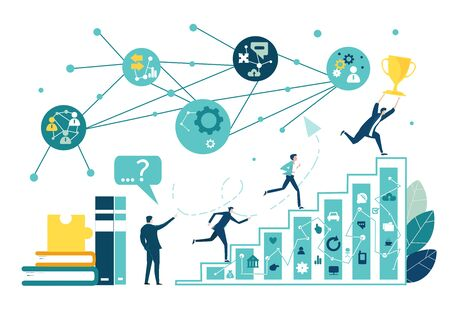 Business people running up at the growth bars. Career and success concept. Collection of business people in action. Illustration