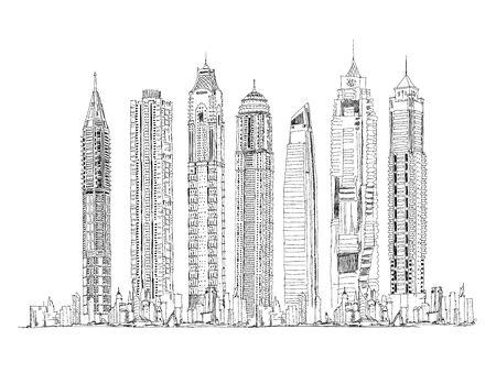 Illustration of the Dubai skyline: Skyscrapers of the Dubai Marina