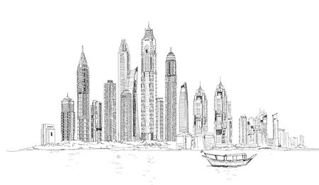 Illustration of the Dubai skyline: Skyscrapers of the Dubai Marina
