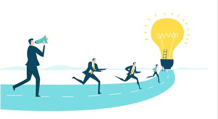 Business people running towards the light bulb as symbol of new opportunity,  susses, professional realisation, salary growth. Competitive modern life Illustration