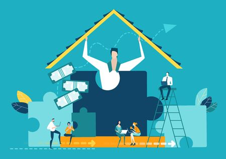 Businessmen holding the roof above the team which working in progress. Working together, earning, planning and developing, Start up business.