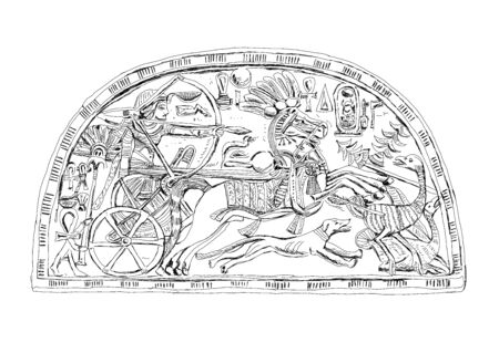 Sketch of the relief  Pharaoh Tutankhamun hunting engraved at fan holder of ostrich feather from the Tomb of Tutankhamun (c. 1370-1352 BC) Sketch collection