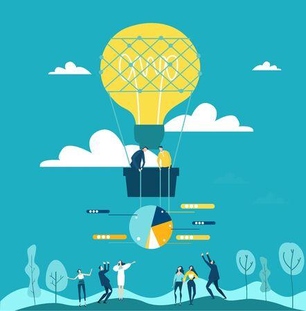 Geschäftsleute, die mit dem Luftballon fliegen, geformt als Glühbirne, zusammenarbeiten, Geschäftskonzept. Strom, Energie, Unterstützung und Konzeptentwicklung.