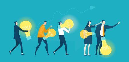 Geschäftsleute, die sich um eine Glühbirne als Symbol für die Generierung neuer kreativer Ideen, den Fortschritt und die Unterstützung des Fortschritts kümmern. Zusammenarbeit, Geschäftskonzept.