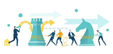 Business people working with chess figures. Improving Business strategy for success.  Achieving goals, working together, playing chess game. Horse and castle moves.