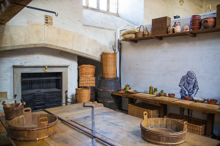 London, UK - July 29, 2019: Tudors kitchen in the Hampton court, belonged to Henry VIII. Locates in West London.