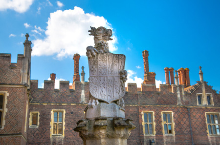 London, UK - July 29, 2019: Lione Arms on the the entry of Hampton court, belonged to Henry VIII. Locates in West London. Editorial
