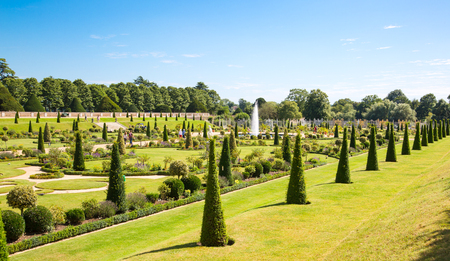 London, UK - July 29, 2019: English garden view of Hampton court 17th century locates West London Editorial
