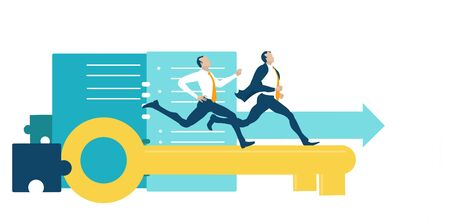 Business people running on the golden key competing for the better deal, professional position, career, individual growth. Successful business people, Rivals Ilustração
