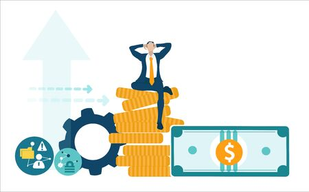 Businessman sitting on stack of coins, banker Vektoros illusztráció