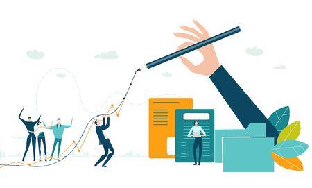 Hand von Geschäftsleuten, die die Wachstumslinie als Symbol für Stabilität im Geschäft, Kontrolle und Unterstützung zeichnen. Kleine glückliche Leute, die im Büro arbeiten