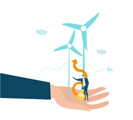 Businessmen holding little man with light bulb and wind turbines. Finding a new energy sours, alternative energy supply.