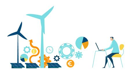 Man working with the laptop and controlling wind turbine power generators process. Alternative energy sources, eco friendly future, safe the planet concept.