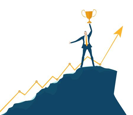 Businessman staying on the top of mountain peak and holding golden trophy up. Support, working together, way to the success concept.