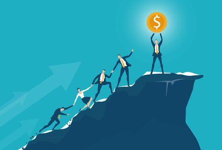 Team von Geschäftsleuten, die auf den Gipfel des Berggipfels klettern. Unterstützen, zusammenarbeiten, Weg zum Erfolgskonzept.