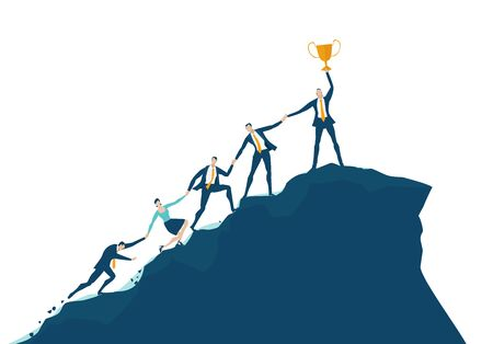 Team of business people climbing up to the top of the mountain peak. Support, working together, way to the success concept.
