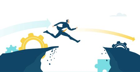 Brave Businessman running and jumping over the dangerous canyon. Way to success, competitive modern business environment