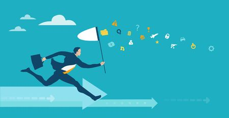 Businessman running with the butterfly net in hope to catch more money and better opportunity in life. Business concept illustration Иллюстрация
