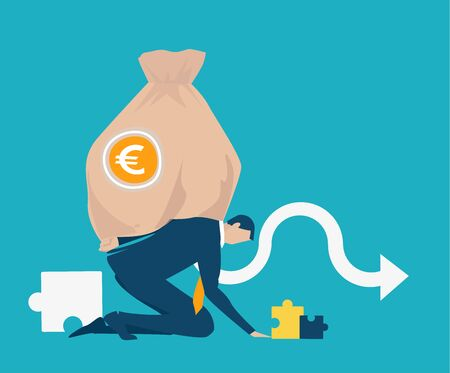 Businessman, banker holding and caring a big sack of money with Euro sign. Business concept illustration