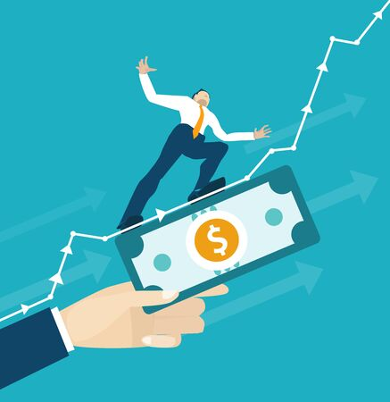 Businessman makes tight-walk walking and supported by the dollar. Climbing up on the growth chart, arrow, symbol of dangerous financial situation. Business concept illustration