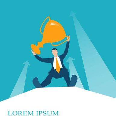 Business man, climbed hight up, staying hight and showing the golden trophy. Winner and successfulness in business concept illustration Illustration