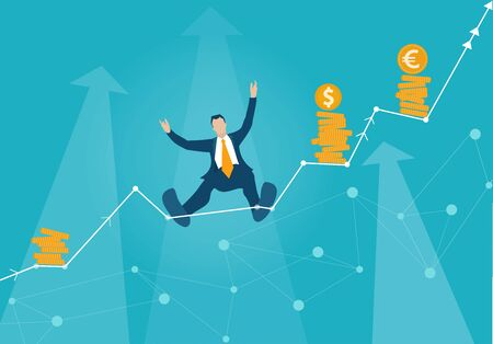 Businessman makes tight-walk walking.  Climbing up on the growth chart, arrow, symbol of dangerous financial situation. Business concept illustration