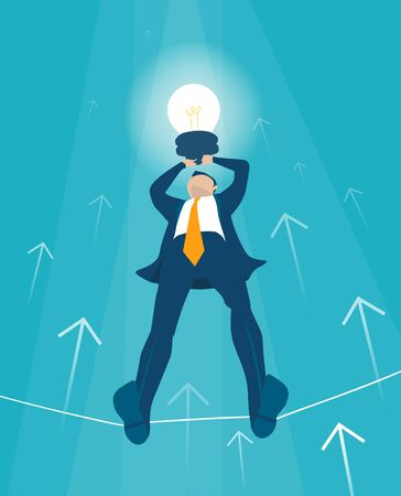 Businessman makes tight-walk walking with light bulb. Climbing up on the growth chart, arrow, symbol of dangerous financial situation. Business concept illustration