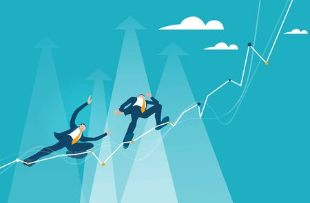 Business people making tight walking walk, climbing up on the growth chart, arrow, balancing on canal as symbol of dangerous financial situation.