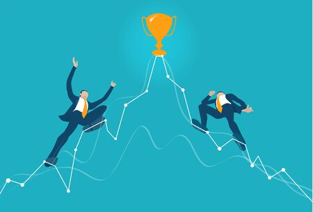 Business people make tight-walk walking towards the golden trophy. Competing, climbing up on the growth chart, arrow, symbol of dangerous financial situation. Business concept illustration