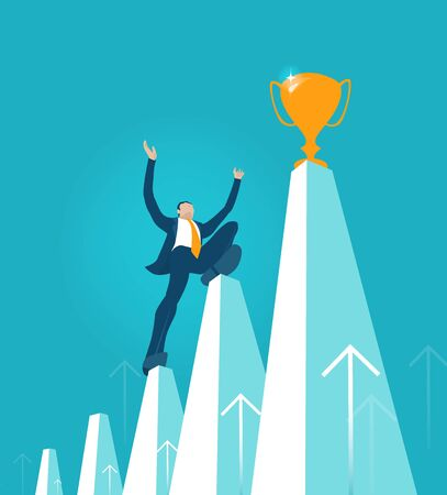 Business man, climbing hight up on growth chart towards the golden trophy. Winner and successfulness in business concept illustration