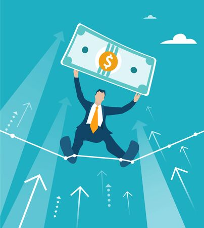 Businessman tight-walk walking and showing the dollar as winner price. Climbing up on the growth chart, arrow, symbol of dangerous financial situation. Business concept illustration Ilustração