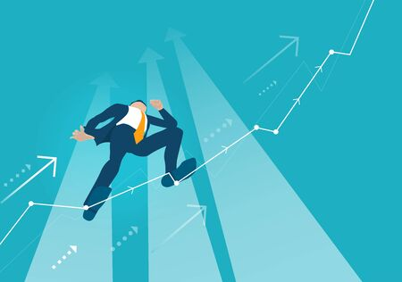 Businessman makes tight-walk walking, climbing up on the growth chart, arrow, balancing as symbol of dangerous financial situation.