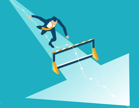 Business man running and jumping over hurdles towards success.  Winning and successfulness in business concept illustration