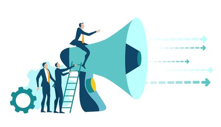 Businessman sitting on loudspeaker and communicating with his team, making orders and controlling the process. Business concept illustration.