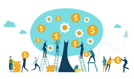 People, bankers collecting money from the money tree. Investment, savings, salary and banking concept illustration