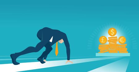 Businessman lined up getting ready for race. Big money as a target and price. Salary, earnings, saving and investment concept illustration. Stockfoto