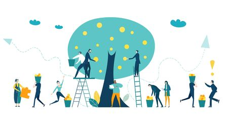 People, bankers collecting profit from the money tree. Investment, savings, salary and banking concept illustration