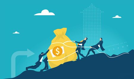 Group of businessmen, banker pulling up the sack of money on top of the mountain as symbol of success, hard work, solving the problem and high professional achievements. Business concept illustration