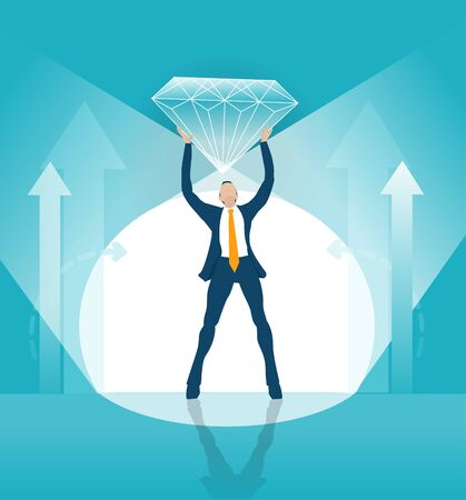 Businessman demonstrate diamond from stage as symbol of success and professionalism. Business concept illustration