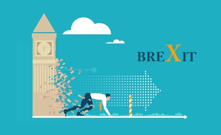 Brexit concept illustration. Britain out of EU. New era of finance and political life for UK. Businessman running through the Big Ben wall destroying it. Concept illustration