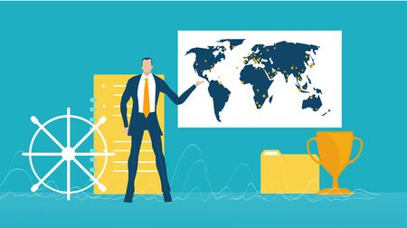 Businessman staying in front of globe and showing deal locations. Concept illustration