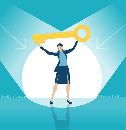 Business woman demonstrates golden key from the stage as symbol of success and professionalism. Business concept illustration Vettoriali