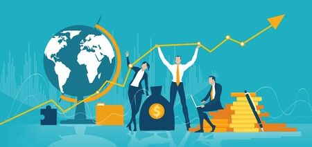 Team of business people, bankers staying in front of map and showing global growing business. Concept illustration