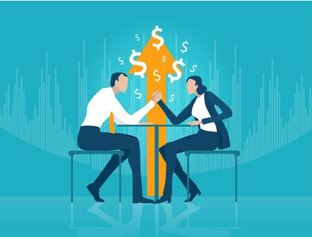 Business man and business woman fighting with Arm wrestling. Business people negotiating the deal. Business concept illustration