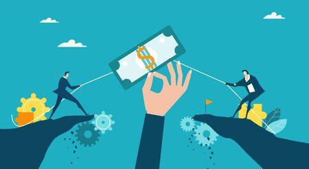 Gente di affari che separa il dollaro come simbolo della lotta per il caro e del contratto. Concorrenza aziendale, negoziazione e concetto di sfida. Illustrazione del concetto Vettoriali