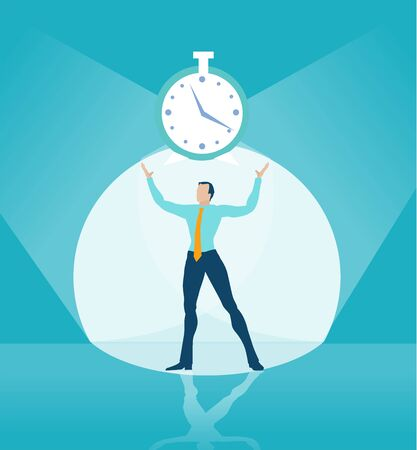 Businessman holding up clock at stage as symbol of winning and controlling situation. Иллюстрация